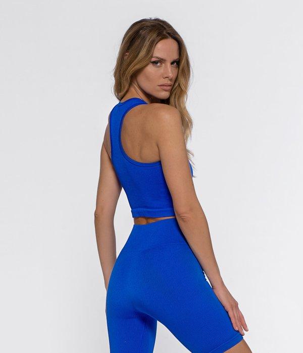 Top Vivi Shiny Ribbed Blue Seamless