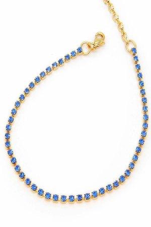 Cavigliera Stardust Oro Con Catena Swarovski Azzurro