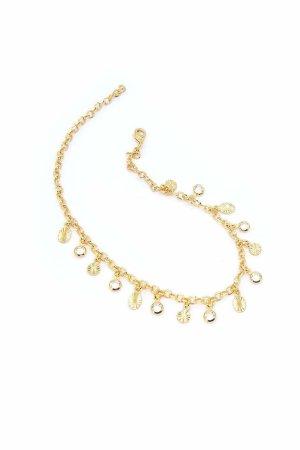 Cavigliera Timeless Oro Con Medagliette Diamantate e Cristallini