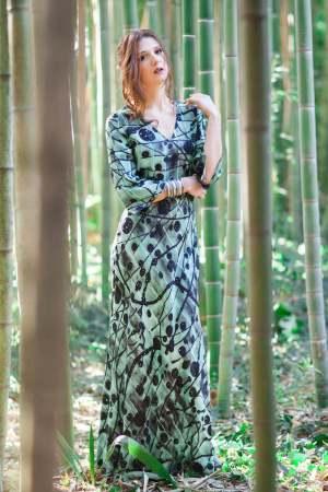 vestito in seta stampa verde