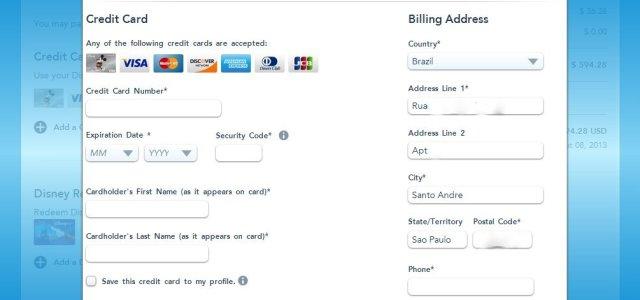 Tela para inserir as informações do cartão de crédito.