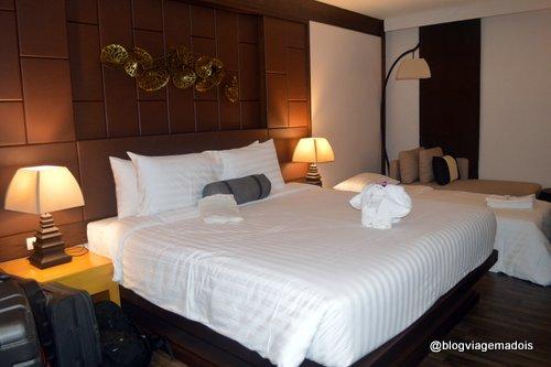 A cama espaçosa e confortável
