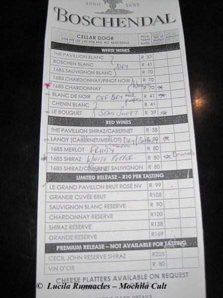 Essa é a lista dos vinhos que provei nessa cata