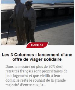 SENIOR ACTU : Les 3 Colonnes – lancement d'une offre de viager solidaire