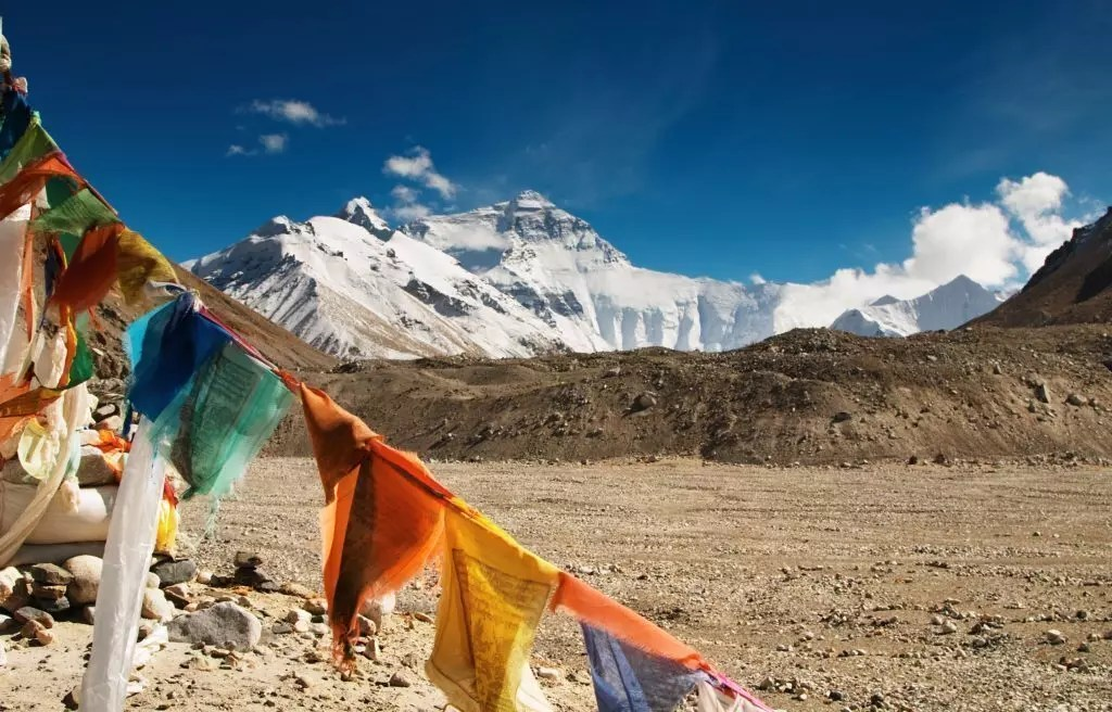 Buddhist prayer flags and mount Everest