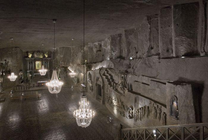 cristalli di sale nella miniera di sale di wieliczka