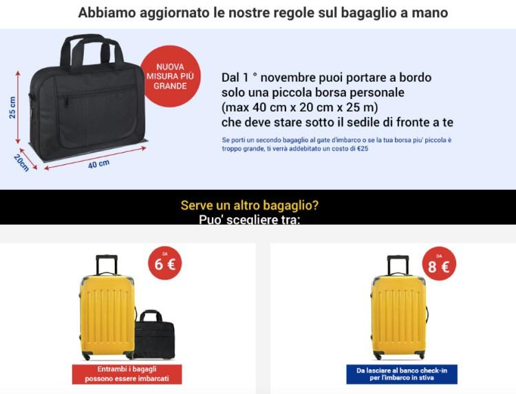 spiegazione delle regole ryanair sul bagaglio a mano trasportabile in cabina