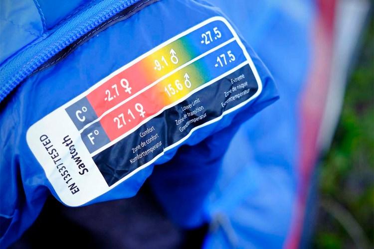 etichetta normativa europea EN 13537 per i sacchi a pelo