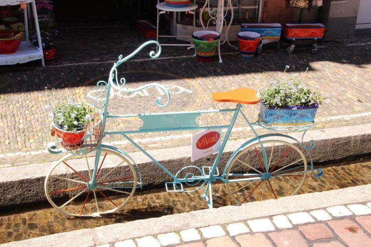 Una bicicletta nei Bachle canaletti di Friburgo