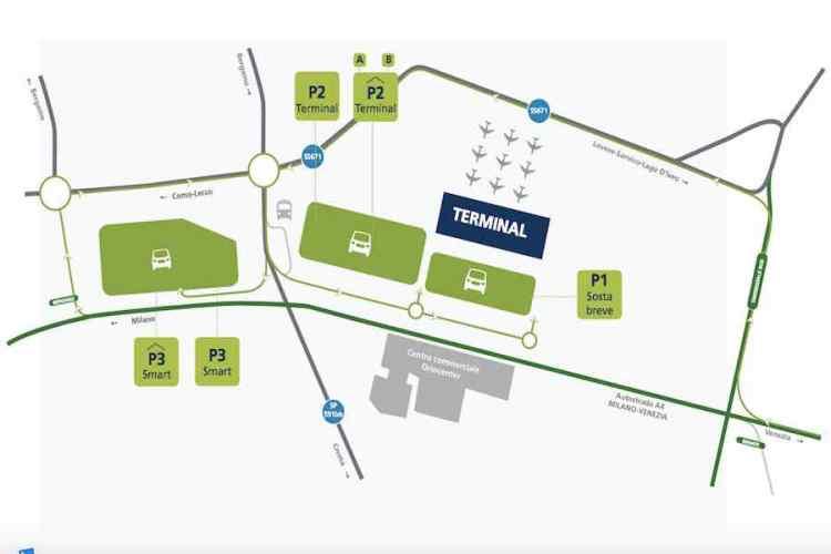 la mappa dell'aeroporto di bergamo orio al serio