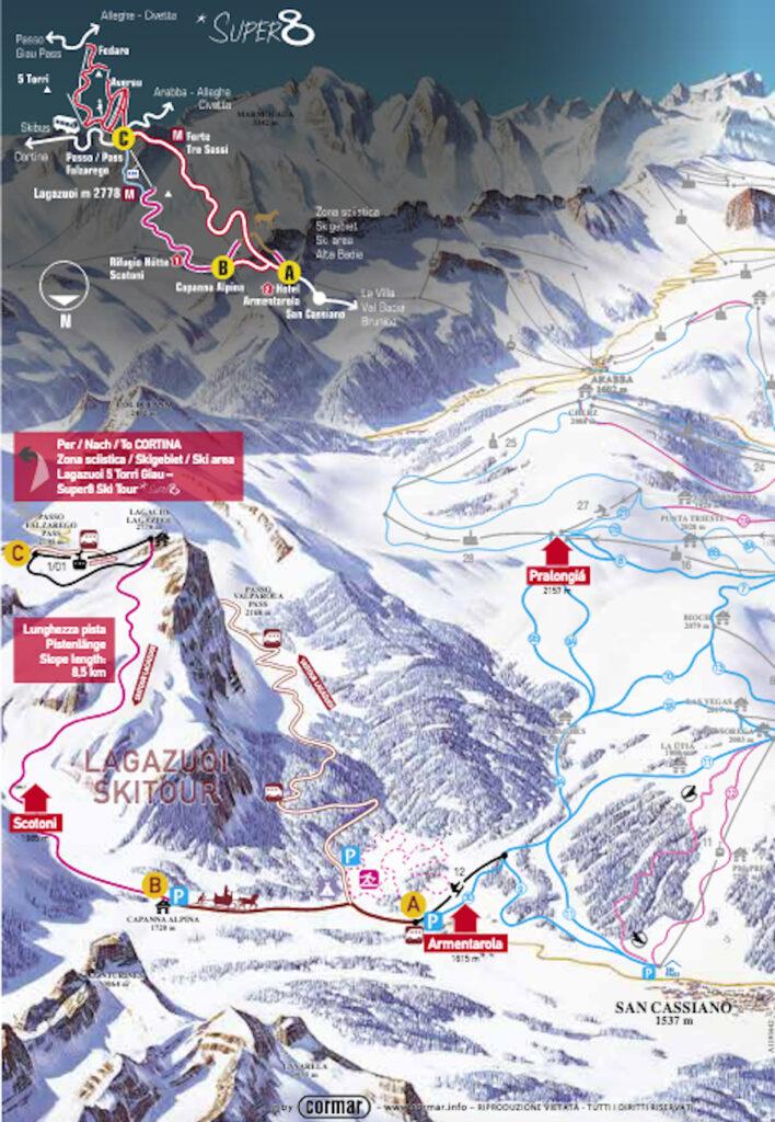 ski map del giro sciistico del lagazuoi in alta badia