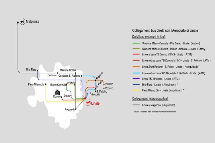 mappa collegamenti autobus aeroporto linate