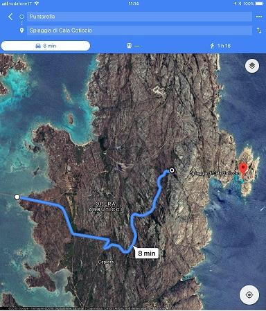 come arrivare a Cala Coticcio mappa