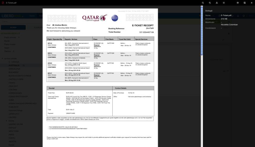 biglietto aereo online e-ticket