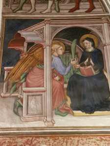 Cappella di Palazzo Trinci a Foligno, Affresco di Ottaviano Nelli, Scena dell'Annunciazione