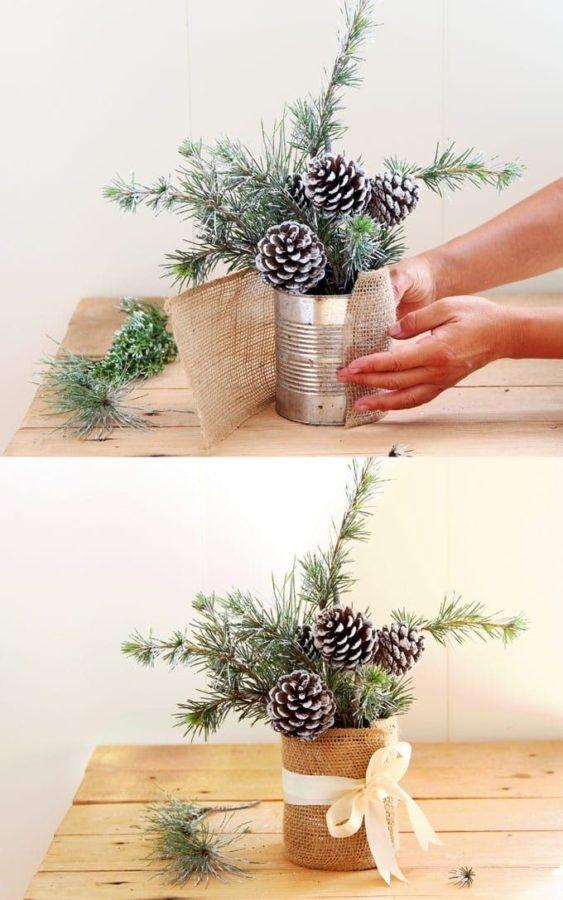 Centrotavola fai da te per la tavola di Natale -Foto fonte Pinterest-