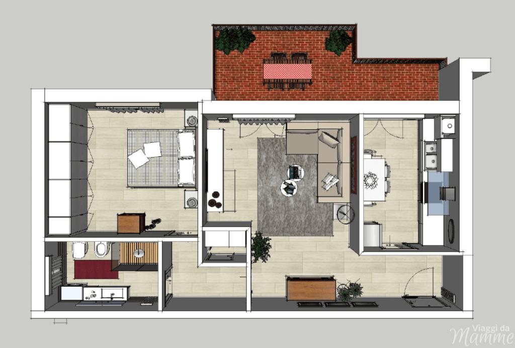 Propositi per l'anno nuovo: viaggi, blog e Interior projects -schizzo 3D di un mio Interior project-