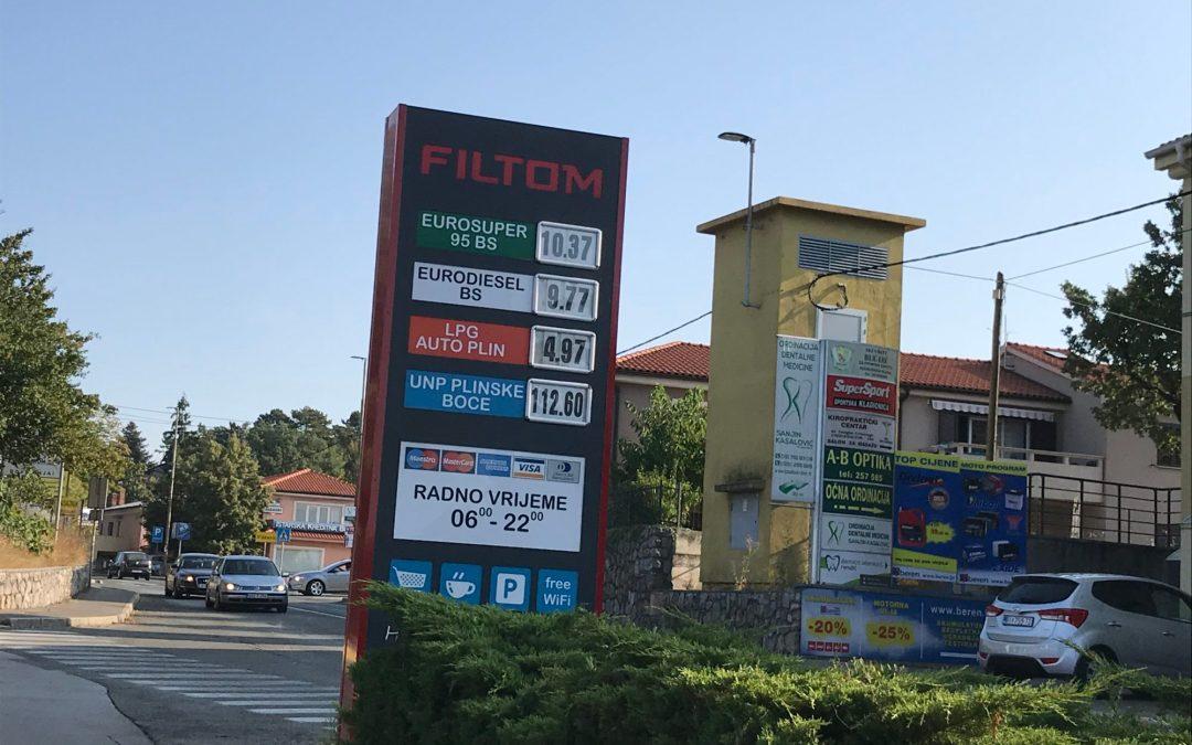 Prezzo della benzina in Croazia, non così diversi dall'Italia