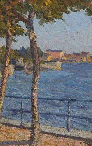 Mario Tozzi, La passeggiata, 1915, olio su tela, cm 45x29, Museo del Paesaggio