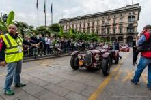 "Franciscus Van Haren (NL) Leonie Hendriks (NL) on Alfa Romeo 8C 2900 Botticella (1936). Piazza Duomo, Milano, May 2018. Nikon D810, 20 mm (20 mm ƒ/1.8) 1/160"" ƒ/8 ISO 180"
