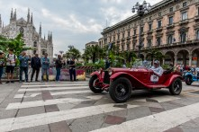 "Andrea Vesco and Andrea Guerini (I) on Alfa Romeo 6C1750 Super Sport Zagato (1929). Piazza Duomo, Milano, May 2018. Nikon D810, 24 mm (24 mm ƒ/1.4) 1/100"" ƒ/1.4 ISO 64"