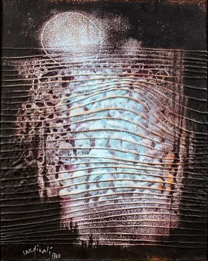 Franco Cardinali_Site cosmique aux reflets d'aurore_1983_olio caseina e sabbia su tela_cm 100x81.jpg