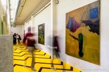 Alessandro Fogo, La Fontana della Giovinezza, 2018-2019. Serie di tecniche miste su tela, moquette, dimensioni ambientali