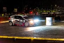"""Piero Longhi vincitore nella categoria """"moderne"""" del Milano Rally Show, a bordo della Ford Fiesta WRC condivisa con il navigatore Gianmaria Santini durante la """"notturna"""""""