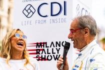 Claudia Arena e Tony Fassina, in Piazza Duomo sulla piattaforma di partenza del Milano Rally Show