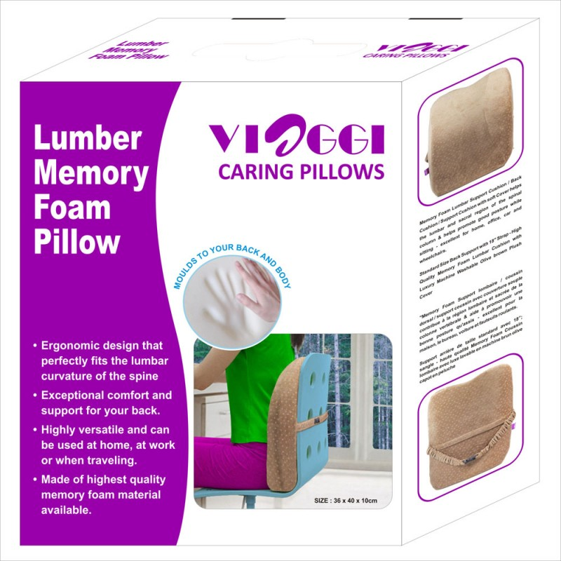 viaggi brown orthopedic lumbar support memory foam pillow relief for lower back pain sciatica pain relief ideal backrest pillow for