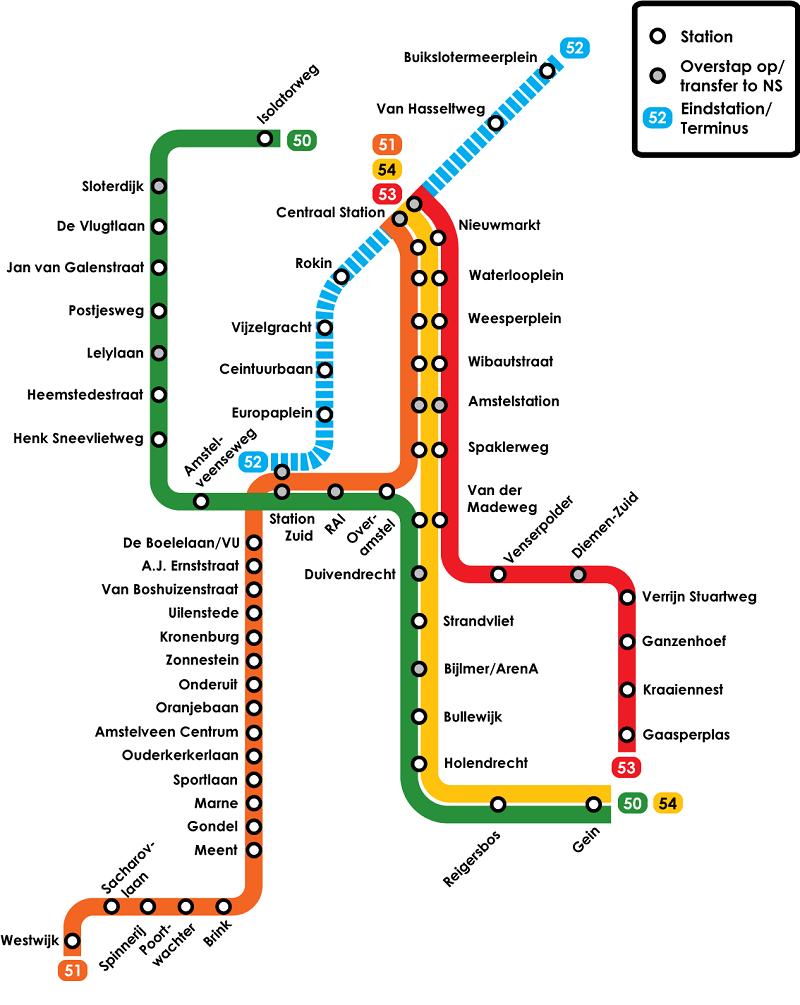 Mezzi pubblici Amsterdam: la metropolitana