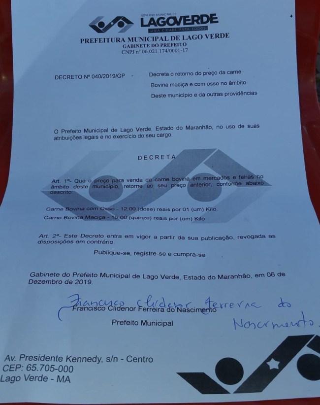 Decreto do prefeito