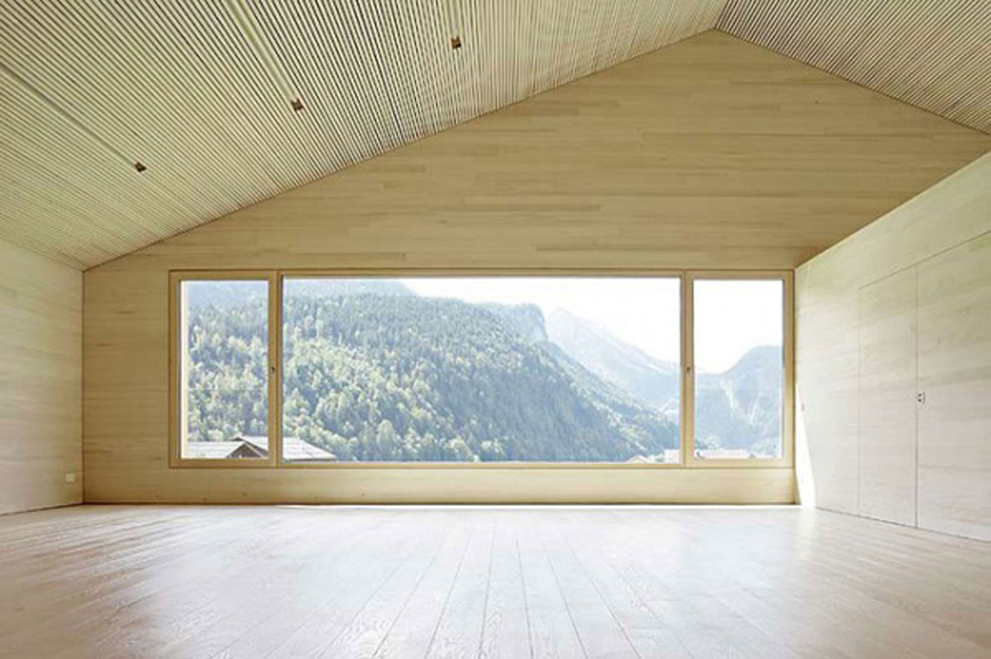 Minimalist Wooden House Ideas by Bernardo Bader  Top Room  ViahouseCom
