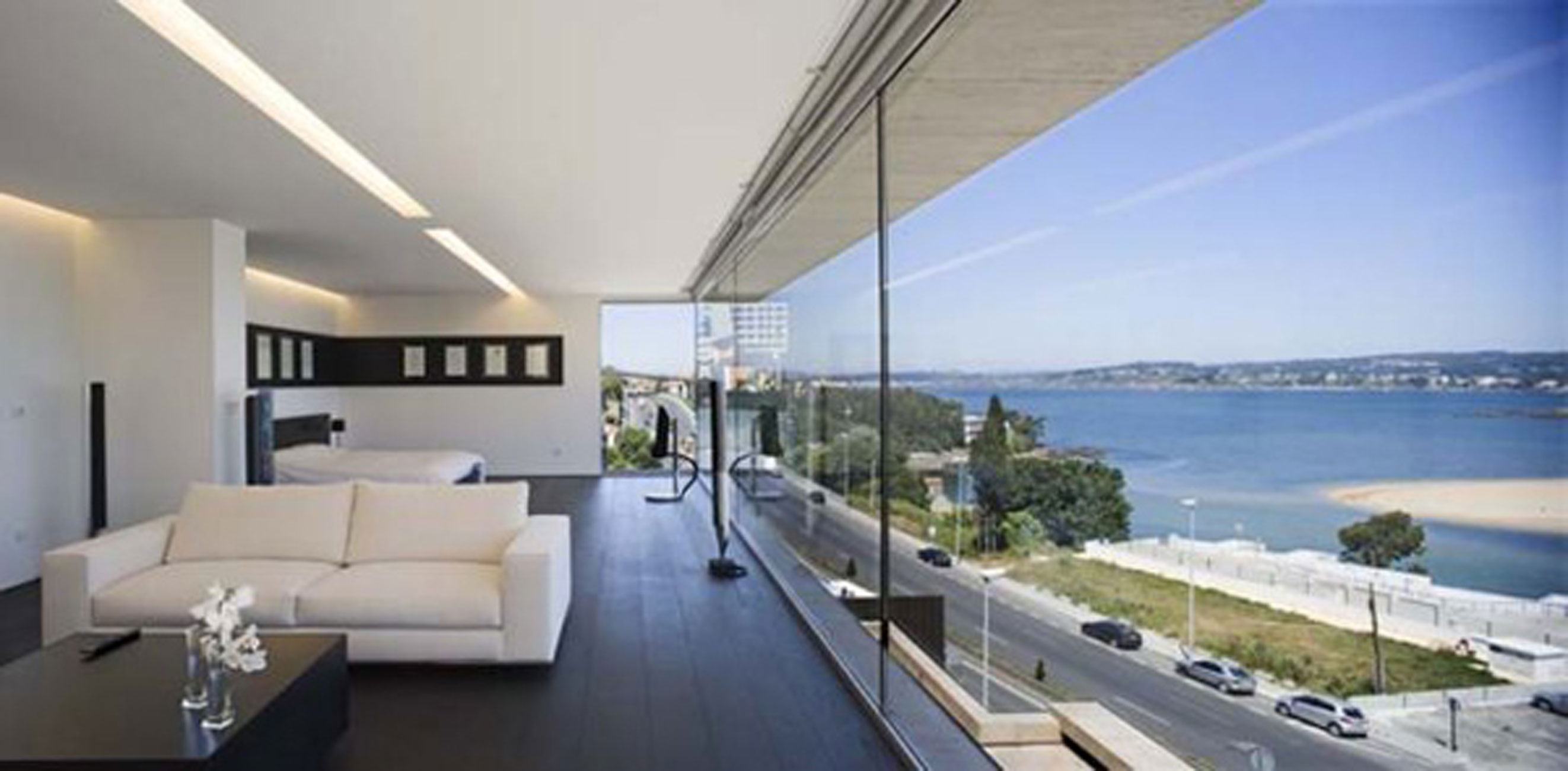 Modern Glass House Design in Cliff Side of Galicia Spain  Lounge  ViahouseCom