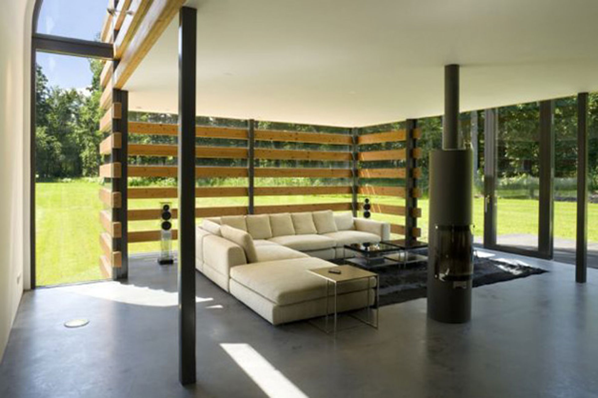 Redesigned Barn House into Modern House Design with Metal Roof  Living room  ViahouseCom