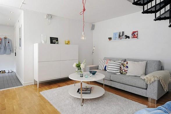 Elegant White Interior Design Of A Minimalist Duplex Apartment Plans Grey Couch