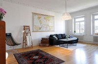Spacious Apartment Design with Wooden Floor and Bright ...
