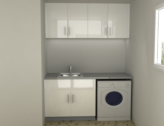 Lacquer Laundry Cabinet Glass Tile Floor Glossy White Cabinet