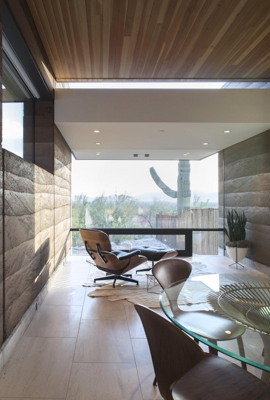 Rammed Earth Modern House Dining Area  ViahouseCom