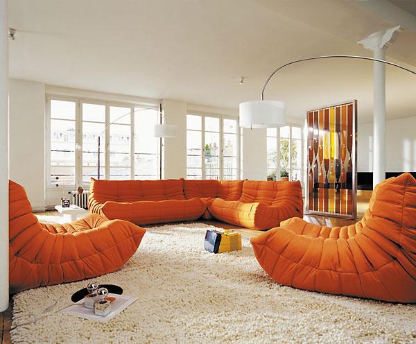 Wonderful Orange Togo Sofa White Artistic Lamps Spacious Living Room