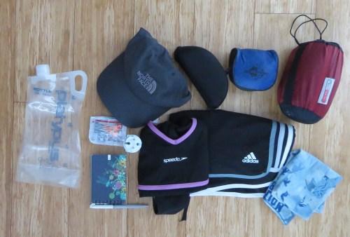 Bolsa para el agua, gorra, gafas, toalla en microficha, liner, tapa oídos, libreta y lapicero, adaptador de energía, vestido de baño, pantaloneta y buff