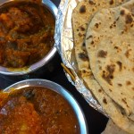 Comida India-Malaya: pollo masala con chapati y berenjenas