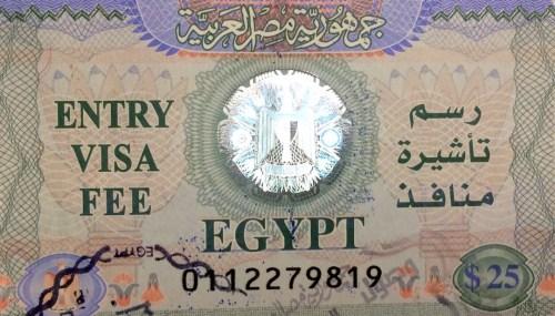 Estampilla para el ingreso a Egipto