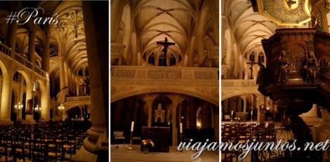 Detalles del Interior. Iglesia de Saint Entienne du Mond, París, Francia.
