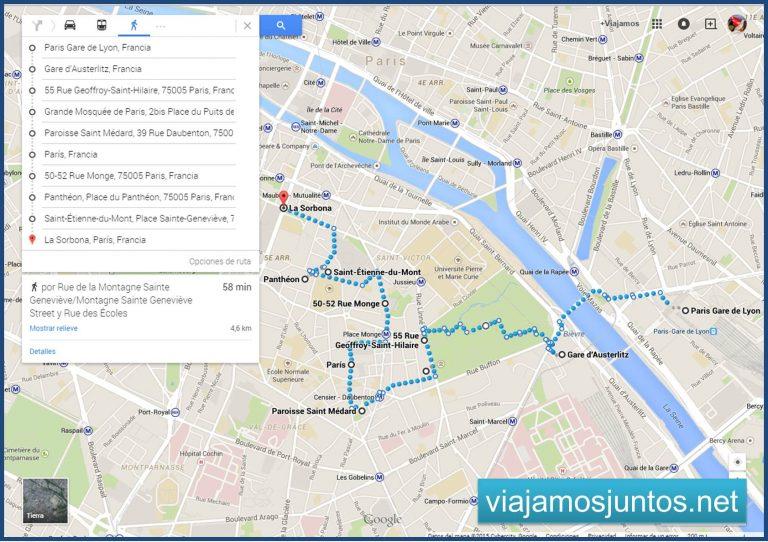 Plano de nuestra ruta por el Barrio Latino, París. París en 5 días. Día 3