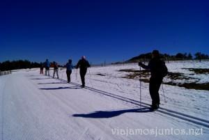 Todos en línea Esquí de fondo durante #MadTBNieve, @MadridTB Madrid Travel Bloggers en Parque Nacional de Guadarrama
