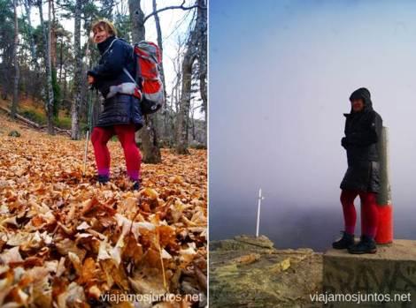 Buff (Lidl), cortaviento (North Face), debajo: chaqueta plumas (Decathlon), malla (Lidl), calcetín (Decathlon), bota (HiTec) Caminatas de invierno. Cómo vestirse barato para rutas de invierno no tener frío.