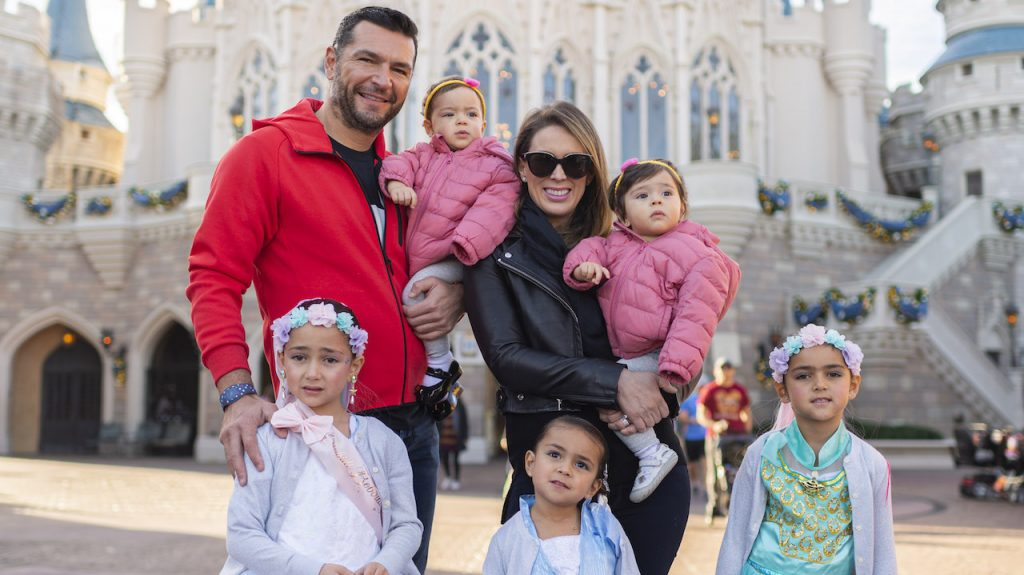 Mexican actress and host Jacqueline (Jacky) Bracamontes and her family at Magic Kingdom Park