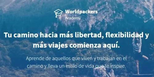 Logo Worldpackers Academy para aprender a viajar barato