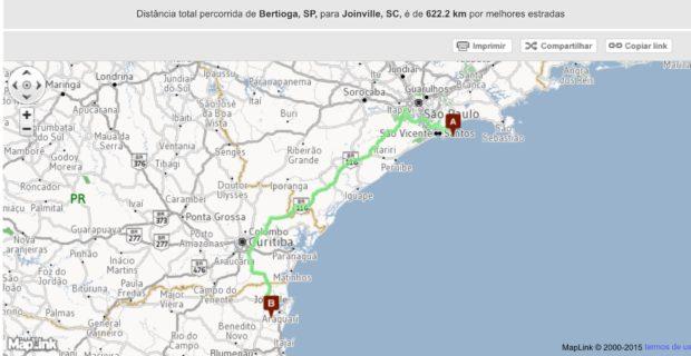 Rota de Bertioga até Joinville - Viagem de Carro
